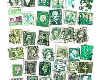 36 x green, used postage stamps from 22 different countries, all off paper for collage, stamp collecting, crafting and scrapbooking