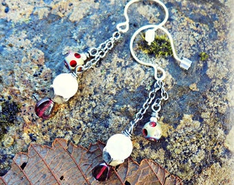 Handmade Earrings with Garnet, Silver and Etched Glass