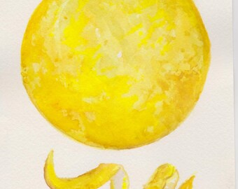 Lemon Watercolor Painting Original, 5 x 7 Culinary Art, kitchen decor, food illustration food art, original watercolor painting, twist