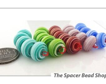 BIG SWIRLS Rainbow HALF Bead Sets Lampwork Spacers Glass Handmade - The Spacer Bead Shop