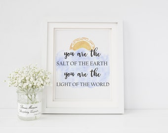 Scripture Digital Print, Matthew 5 Print, Scripture Print, Bible Verse Print, You are the light of the world, Watercolor Wall Art, printable