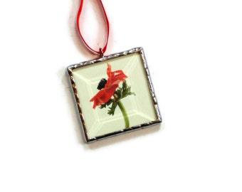 Spring flower ornament, stained glass, red poppy flower photography, flower gift, picture ornament, tree trimming, mini wall art