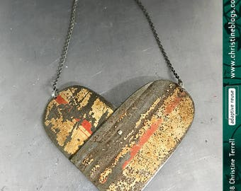 Double Arch Overlap Heart | Vintage Tin Pendant | Ethical Jewelry | Valentines Gift | Wife Gift | Heart | Gift for Her | Recycled | Boho