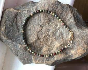 Dainty Dragon's Blood Jasper and 14k Gold Fill Bracelet - Free U.S. Shipping