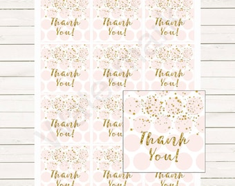 Pink and Gold Favor Tags, Pink and Gold Thank You Tags, Pink and Gold Swing Tags Instant Download  Favor Tags,   203 Printable