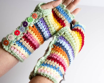 Fingerless Gloves - Stripy Mitts - Crochet Photographer Gloves - Wrist Warmer - Striped Gloves With Buttons - Texting Gloves - One of a Kind