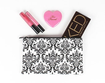 Black and White Damask makeup bag - In Stock Ready To Ship
