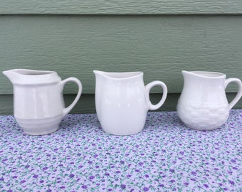 White creamer set vintage ceramic Franciscan Cloud Nine Home Trends Living Quarters small pitcher stoneware glass mini syrup dish simple