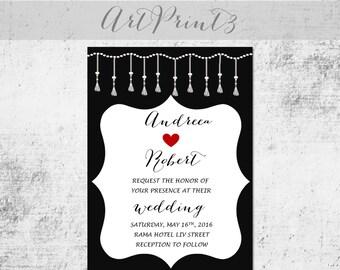 Printable Wedding Invitation, Vintage Wedding Invitation, Black&White Wedding Invitation Printable, Romantic Wedding Invites Printable