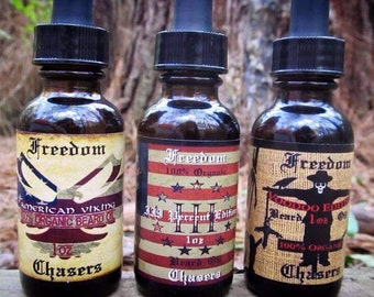 Freedom Chasers Organic & Natural Beard Oils (Pick Any 3) 1 oz Bottles