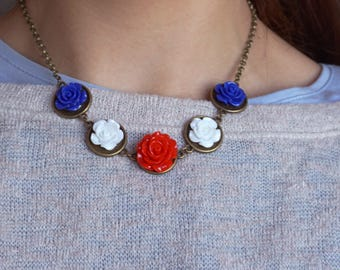US Patriotic Jewelry America Girl Accessory Patriotic Necklaces for Women 4th of July Outfit Woman Fourth of July Shabby Chic America Flag