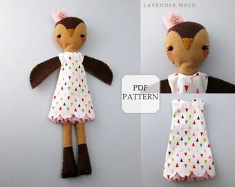 owl pattern, felt owl pdf, plush owl pattern, fashion doll, owl gift for her, owl sewing, owl sewing pdf, pdf sewing pattern, plush owl kid