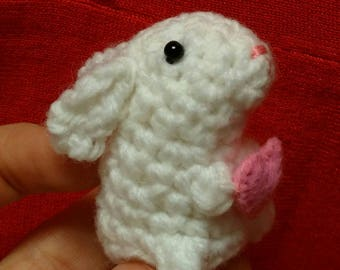 Valentine Bunny - crochet rabbit holding heart Valentine's day gift pink and white crochet bunny - miniature bunny