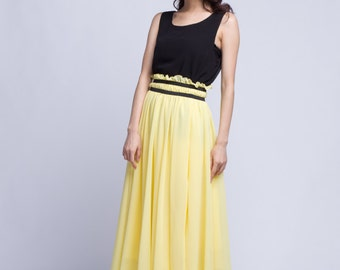 High Waist Wedding Skirt Chiffon Long Skirts Beautiful Elastic Waist Summer Skirt Floor Length Beach Skirt (201) 124#
