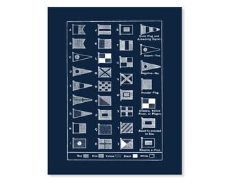 Nautical Flag Art Print, Nautical Flags, 5x7, 8X10, 11x14 Beach Decor, Nautical Wall Art, Sailing Art, Flag Chart, Maritime Flags