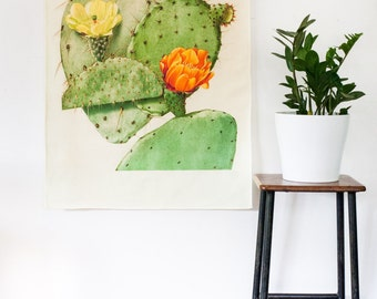 Botanical Print wall art / Prickly Pear fabric wall art/ Cactus wall art / bedroom wall art / Cactus wall art/ bedroom decor/ orange flower
