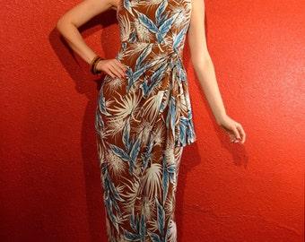 1950s Hawaiian Sarong Dress Tropical Print Medium