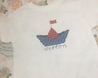 kids emboridery shirt paper boat