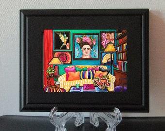 Frida Kahlo Framed Art, Frida Kahlo Print, Interior, Living room. Mexican Decor, Black Picture Frame