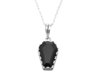 """Coffin Pendant  Natural Gemstones Solid Silver with 18"""" Silver Chain"""