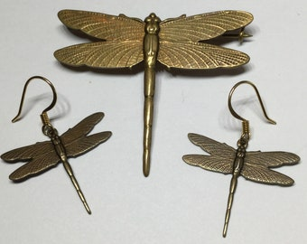Dragonfly Set Pin and Earrings