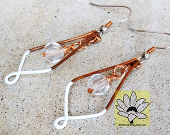 White Copper Earrings Wire-wrapped Handmade Crystal Dangle Beaded Color Block Earrings By Distinctly Daisy