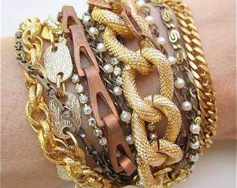 Multi Strand Bracelet Gold Mixed Metal Vintage Chunky Copper Cuff with Rhinestones and Pearls Bridesmaid Bracelet - Golden Ticket Bracelet
