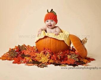 Pumpkin hat, Newborn Crochet Pumpkin Hat, fall photo prop, newborn baby pumpkin fall harvest