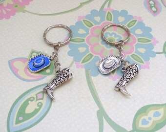 Silver Cowboy Boot with a Blue or Silver Cowboy Hat Keychain/Western Keychain