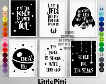 Star wars baby, star wars nursery decor, boy nursery, baby star wars, boy room art, kids star wars, black white nursery art print, set of 6