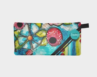 Pencil case Flower power small cosmetic bag or makeup bag pouch with zipper by Marika Lemay artist