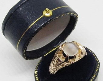 MEMORIAL DAY SALE Antique Victorian Moonstone Engagement Ring 10k Yellow Gold/Engraved Belcher Setting Sz 7.25