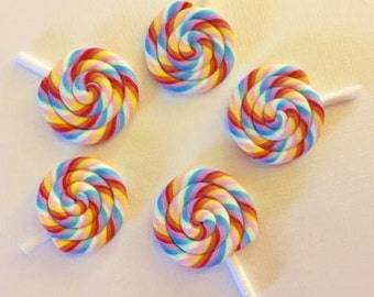 5 Piece Mixed Swirl Lollipops Polymer Clay Cabochons - Kawaii Decoden Flatback Clay (TDK-C1281)
