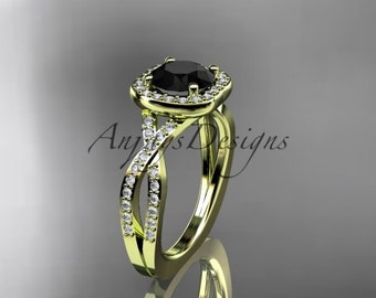 Engagement ring, 14kt yellow gold wedding ring, engagement ring  with a Black Diamond center stone ADER393