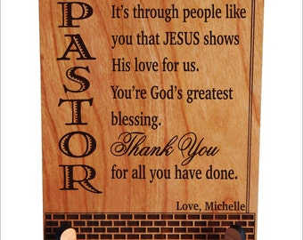 Pastor Appreciation Gift - Gifts for Pastor Thank You - Pastor Birthday Gift - Fathers Day Gift - Father's Day - Plaque, PLP040