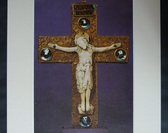 Medieval Crucifix Print, Christian Gift, Available Framed, Catholic Art, Old Relic Wall Art, Opulent Decor, Purple Picture Religious Artwork