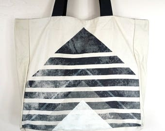 Printed Canvas Tote Bag- White with Blue