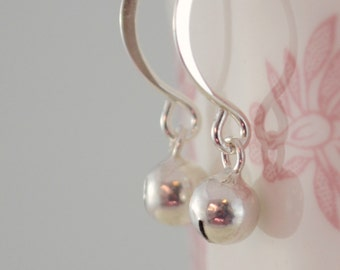 Silver Jingle Bells Earrings, Sterling Christmas Jewelry, Fun Holiday Accessory, Free Shipping