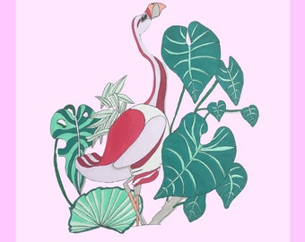 Flamingo in the forest print