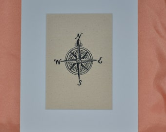 Compass Embroidery on Canvas 8 X 10 Matted Coastal  Beach  Home Decor