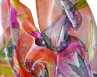 Painted silk scarf Hand Painted Silk Scarf Woman Gift Woman Silk scarf Butterflies in Pink Orange Hand Painted butterflies made by Gabyga