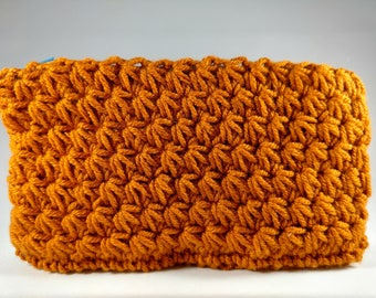 Crocheted Pouch with fabric lining