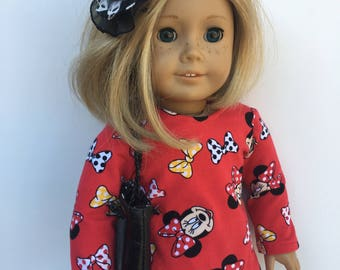 18 Inch Doll Clothes fit American Girl Doll - Minnie Mouse outfit!  Knit top, leggings, purse, bracelet, hair bow and red shoes