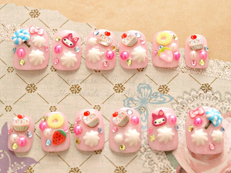 Fairy kei Harajuku Japanese 3D nails pastel short nails