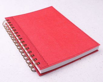 Dot Grid Journal A5 Notebook plain red / recycled notebook / red planner / red notebook / dotted notebook / spiral bound notebook