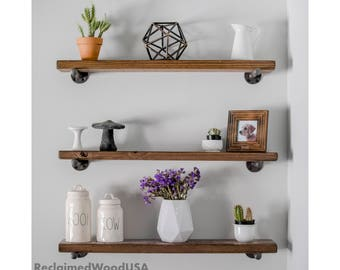 Ships in 7-9 Days (bus.), Sawmilled Floating Shelves, Barn,  floating shelf, Reclaimed wood shelves, Pipe shelf, Rustic shelf, Farmhouse