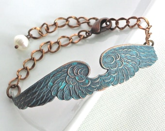 Angel Wing Bracelet  Cuff -  Teal Copper, Wing Jewelry