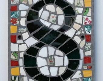 Single digit mosaic house number portrait format