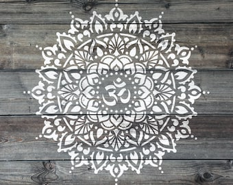 Om Mandala Stencil - Reusable DIY Craft Stencils of an Om Mandala