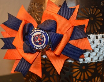 Detroit Tigers Over the Top Bottle Cap Hair Bow